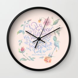 My Grace is Sufficient - 2 Corinthians 12:9 / rose pink Wall Clock