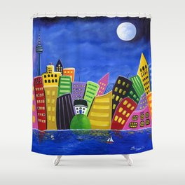 Hilly Meets High-Rise Harbour Shower Curtain