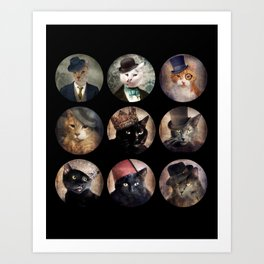 Cats in the Hats Collection Art Print