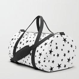 Mini Stars - Black on White Duffle Bag