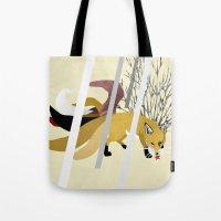 kitsune Tote Bags featuring Kitsune by ravenguerrero
