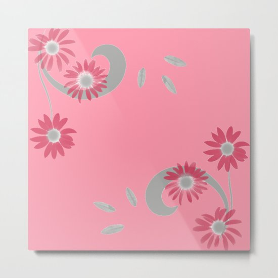 Floral Scroll Design - Strawberry Red Metal Print