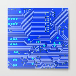 Blue Circuit Board  Metal Print