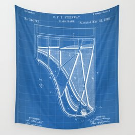 Steinway Piano Patent - Piano Player Art - Blueprint Wall Tapestry