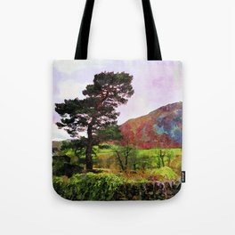 Pine and dry stone wall at Grasmere, Lake District, England Tote Bag