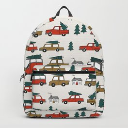 Christmas tradition christmas tree car drive home winter holidays Backpack