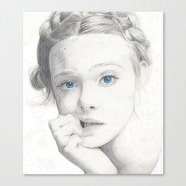 Elle Fanning Blue Eyes Canvas Print