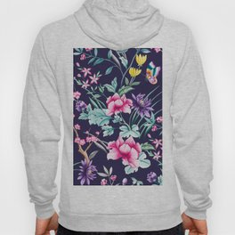 Chinoiserie french navy floral Hoody