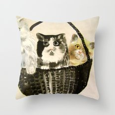 three kittens Throw Pillow