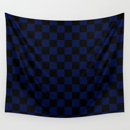 Checkered (blue + black) Wall Tapestry
