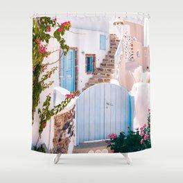 Santorini, Floral Garden Shower Curtain