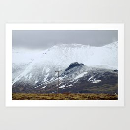 Snowy Mountains in Iceland Art Print