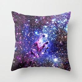 purple blue Eagle Nebula Throw Pillow