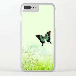 Green Butterfly, Wildflower Meadow, Summer Field Clear iPhone Case