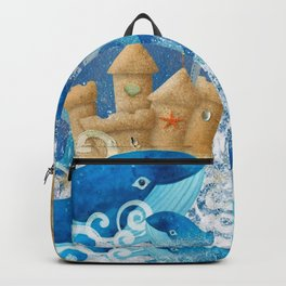 Sandcastle Waves Whales Backpack
