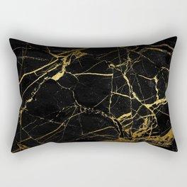 Black-Gold Marble Impress Rectangular Pillow