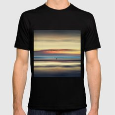 Along Memory Lines - Abstract Seascape Mens Fitted Tee Black MEDIUM