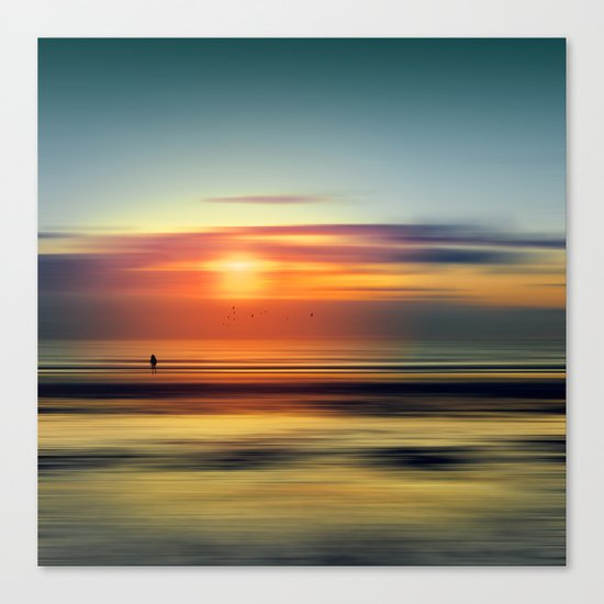 Bright Red - seascape sunset abstract Canvas Print