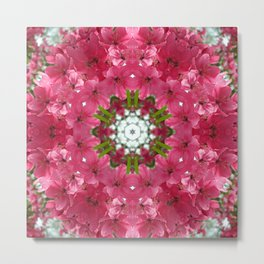 Spring crabapple blossom mandala Metal Print