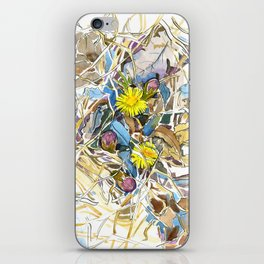 ground beneath my feet in spring: coltsfoot, dry leaves, grass iPhone Skin