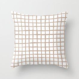 Strokes Grid - Nude on Off White Throw Pillow