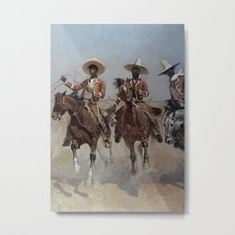 """Frederic Remington Western Art """"Mexican Riders"""" Metal Print"""