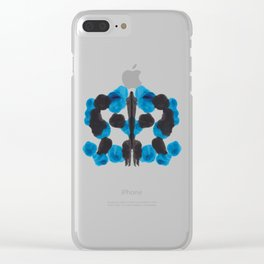 Colorful Blue Turquoise Organic Ink Blot Pattern Clear iPhone Case