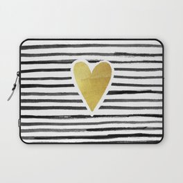Gold Heart And Black ink abstract horizontal stripes background.  Laptop Sleeve