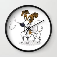 jack russell Wall Clocks featuring Jack Russell by drawgood