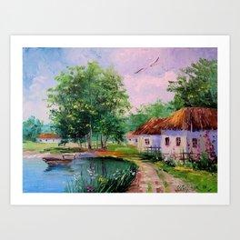 in the village Art Print