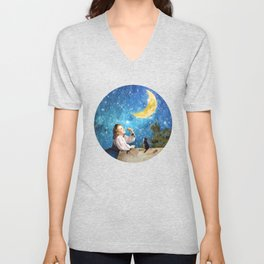 One Wish Upon the Moon Unisex V-Neck