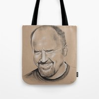 louis ck Tote Bags featuring Louis CK by Jolene Rose Russell