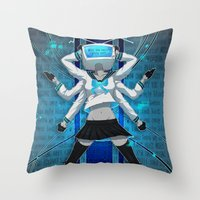vocaloid Throw Pillows featuring What the hell's going on?! by Helixel