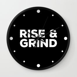 Rise & Grind Gym Quote Wall Clock