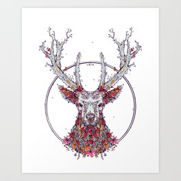 Flowers and Stag Art Print