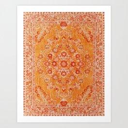 Orange Boho Oriental Vintage Traditional Moroccan Carpet style Design Art Print