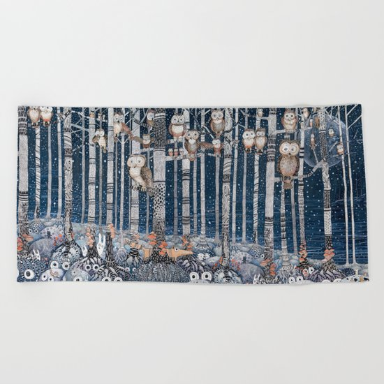 Winter forest Beach Towel