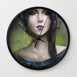 Viola - Girl with purple flowers in her hair Wall Clock
