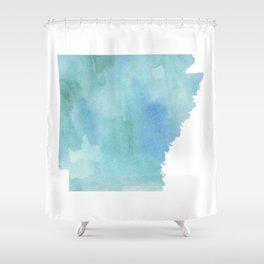 Watercolor State Map - Arkansas AR blue greens Shower Curtain