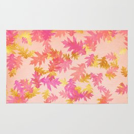 Autumn-world 1 - gold glitter leaves on pink background Rug