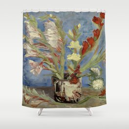 "Vincent Van Gogh ""Vase with Gladioli and Chinese Asters"" Shower Curtain"