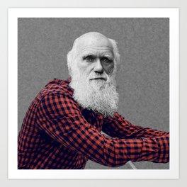 Hipster Darwin Art Print