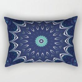 Navy Blue Teal Mandala Design Rectangular Pillow