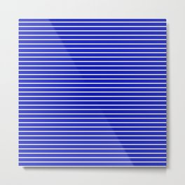 Royal Blue and White Horizontal Stripes Metal Print