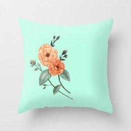 Rose I, Watercolor Mint & Orange Throw Pillow
