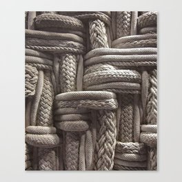 Rope, Texture, Cream, Weaved Canvas Print