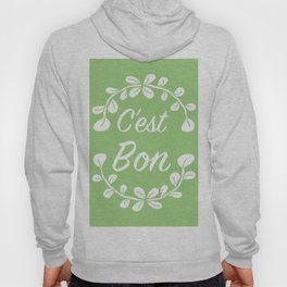 French Typography Print in Spring Green Hoody