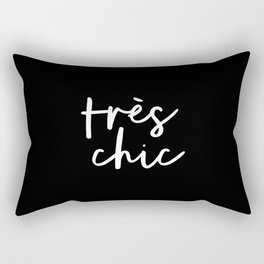 Tres Chic black and white modern french typography quote poster canvas wall art home decor Rectangular Pillow