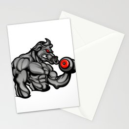 a strong angry bull with a barbell Stationery Cards