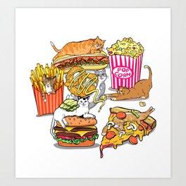 Cats & Junk Food Art Print